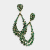 Big Emerald Crystal Pageant Hoop Earrings | 3.75"