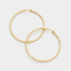 Clip on Textured Gold Hoops | 2.5"