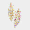 Large AB Crystal Leaf Clip On Earrings on Gold | 395662
