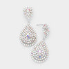 Small AB Crystal Rhinestone Double Teardrop Evening Earrings | 398751