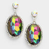 Volcano oval glass crystal evening earrings | 248833