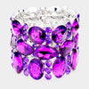 Wide Multi Shape Purple Crystal Stone Stretch Pageant Bracelet | 425186