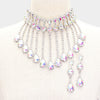 AB Rhinestone Crystal Teardrop Drop Prom Necklace | 419110