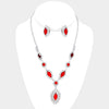 Red Necklace with Clip On Earrings | 259616