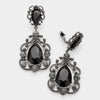 Elegant Black Crystal Chandelier Clip On Pageant Prom Earrings | 323889