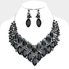 Black Crystal Oval Cluster Leaf Statement Prom Evening Necklace | 385864