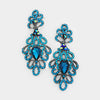 Elegant Teal Crystal Pageant Chandelier Earrings | 250622