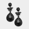 Black Crystal Flower Teardrop Earrings | 360998