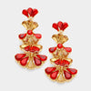 Little Girls Gold and Red Crystal Fan Earrings | 354843
