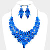 Sapphire Crystal Leaf Cluster Flower Pageant & Necklace Set | 370268