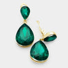 Little Girls Clip on Emerald Teardrop Earrings | 358441