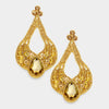 Large Chunky Cut Out Gold Crystal Teardrop Earrings | Tammy Lee's | 368875