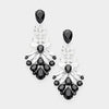 Black Crystal Cluster Pageant Chandelier Earrings | 415278