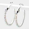 AB Crystal Rhinestone Hoop Earrings | 1.25"