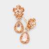 Small Peach Crystal Clip On Dangle Earrings | 398735