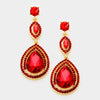 Double Teardrop Red Crystal Earrings | 332847