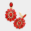 Red Crystal Flower Shaped Clip On Earrings | 354369