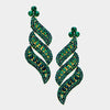 Long Emerald Crystal Statement Earrings | bolts| 364543
