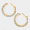 Three Row Crystal Rhinestone Hoop Earrings on Gold | 2.5"