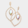 Large Elegant AB Crystal Rhinestone Oval Dangle Earrings on Gold | 414559