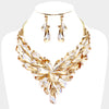 Geometric Gold Crystal Cluster Pageant Necklace | 411584