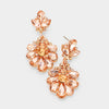 Little Girls Peach Crystal Cluster Teardrop Pageant Earrings | 402709