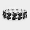 Black Crystal Double Row Teardrop Stretch Prom Pageant Bracelet | 400618