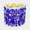 Wide Multi Shape Sapphire Crystal Stone Stretch Pageant Bracelet | 398325