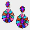 Large Multi Color Pageant Earrings | Clip On | 288543