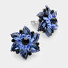 Navy Crystal Flower Clip On Earrings | 216673