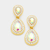 Little Girls AB Crystal Teardrop Earrings on Gold | 347208
