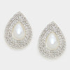 Bridal Earrings | Pearl Teardrop Earrings on Silver | Clip On | 294471