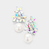 AB Crystal Flower Pearl | Flower Girl Earrings | 382490