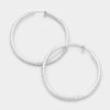 Textured Silver CLIP ON Hoop Earrings | 2.25"