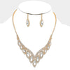 Marquis Crystal Rhinestone Necklace Set on Gold | 309282
