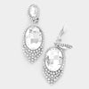 Large Oval Crystal Clip On Earrings | 297135