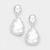 Crystal Teardrop Earrings on Silver | 345746