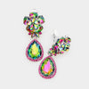 Small Multi Color Crystal Clip On Dangle Earrings | 412381