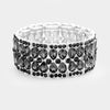 Black Diamond Teardrop Pageant Prom Stretch Bracelet | 390313