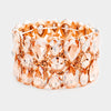 Teardrop Round Peach Crystal Stretch Pageant Prom Bracelet | 377521