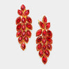 Large Red Crystal Leaf Clip On Earrings | 384198