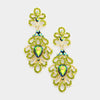Elegant Olive Green Crystal Pageant Chandelier Earrings | 366193