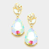 AB Crystal Teardrop Earrings on Gold | 334650
