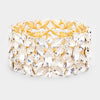 Crystal Teardrop Cluster Pageant Stretch Bracelet on Gold | 412405