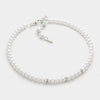 Crystal detail white pearl strand choker necklace | 145216
