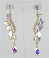 Long AB Crystal Earrings on Gold | HD206 G-AB
