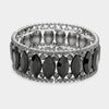 Oval Rhinestone Trimmed Black Crystal Pageant Bracelet | 355756