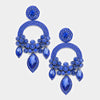 Large Long Elegant Sapphire Chandelier Pageant Prom Earrings | 364527