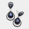 Navy Crystal Surround Clip On Earrings | 341524