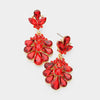 Little Girls Red Crystal Cluster Teardrop Pageant Earrings | 402708